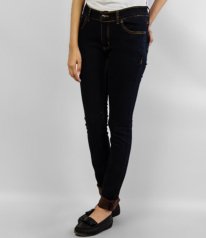 Women's Black with Brown Stitching Skinny Denim Jeans. KTY-J1924