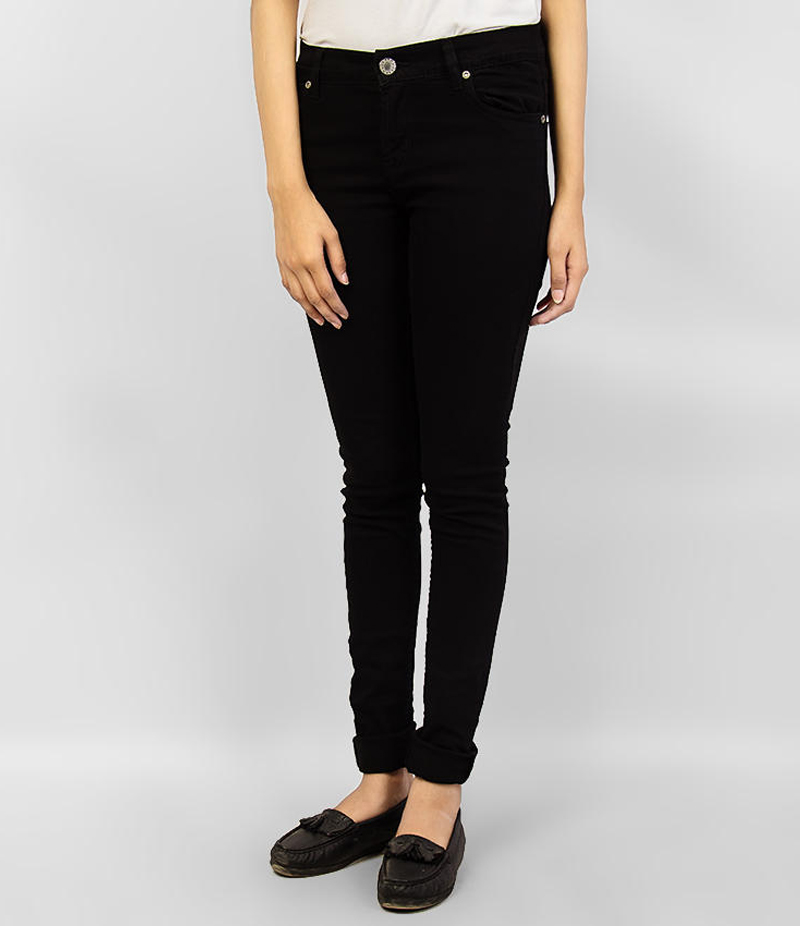 Women's Jet Black Skinny Denim Jeans. KTY-J1925