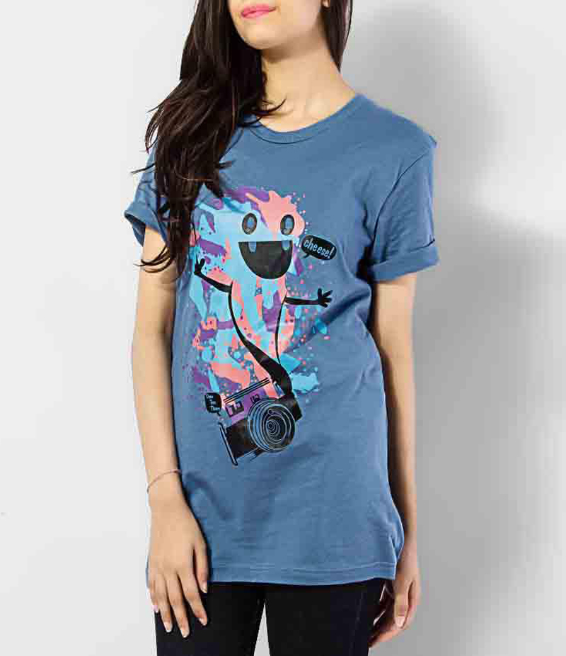 Women's French Blue Cheese Printed Cotton T-shirts. KTY-PT504