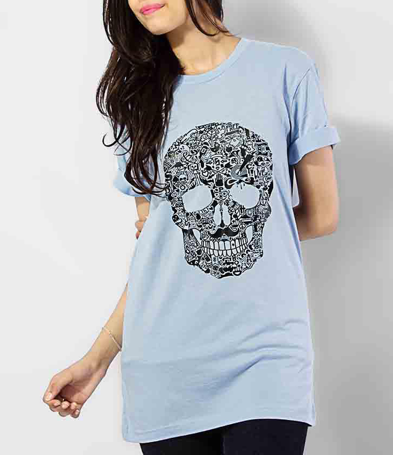 Women's Sky Blue Skull Printed Cotton T-shirts. KTY-PT505