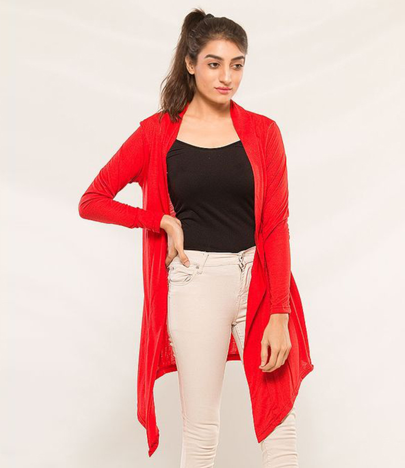 Women's Red Viscose Shrug. KTY-S234