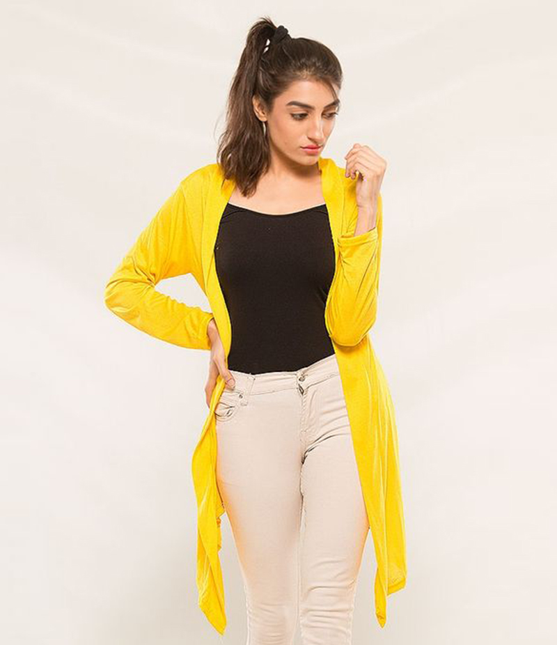Women's Yellow Viscose Shrug. KTY-S235