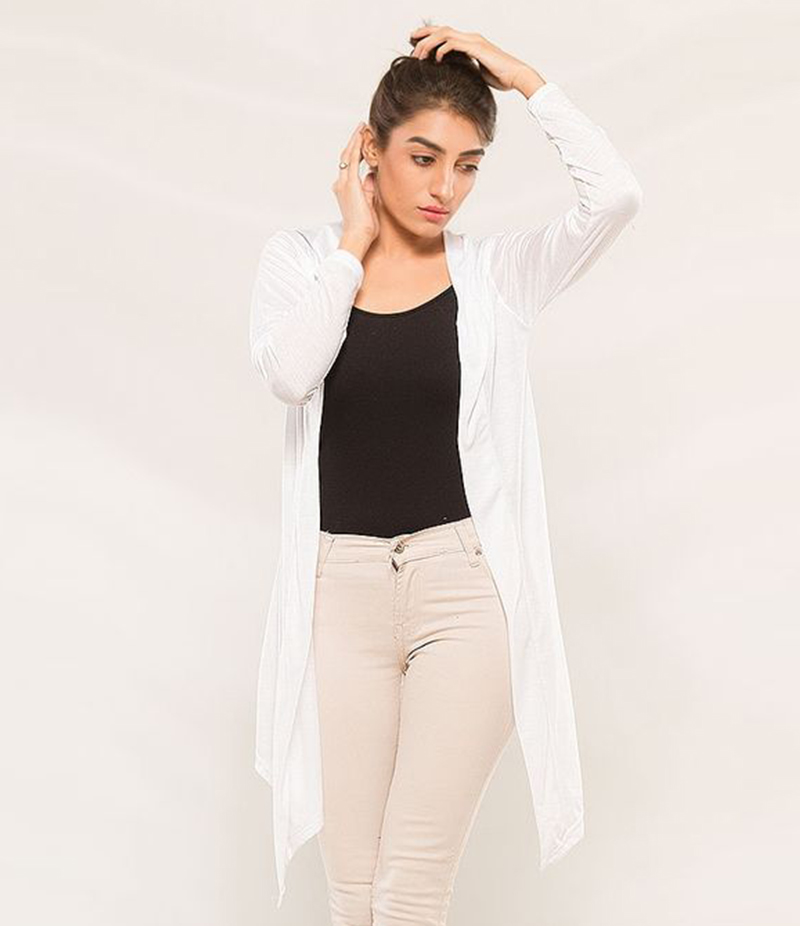 Women's White Viscose Shrug. KTY-S236