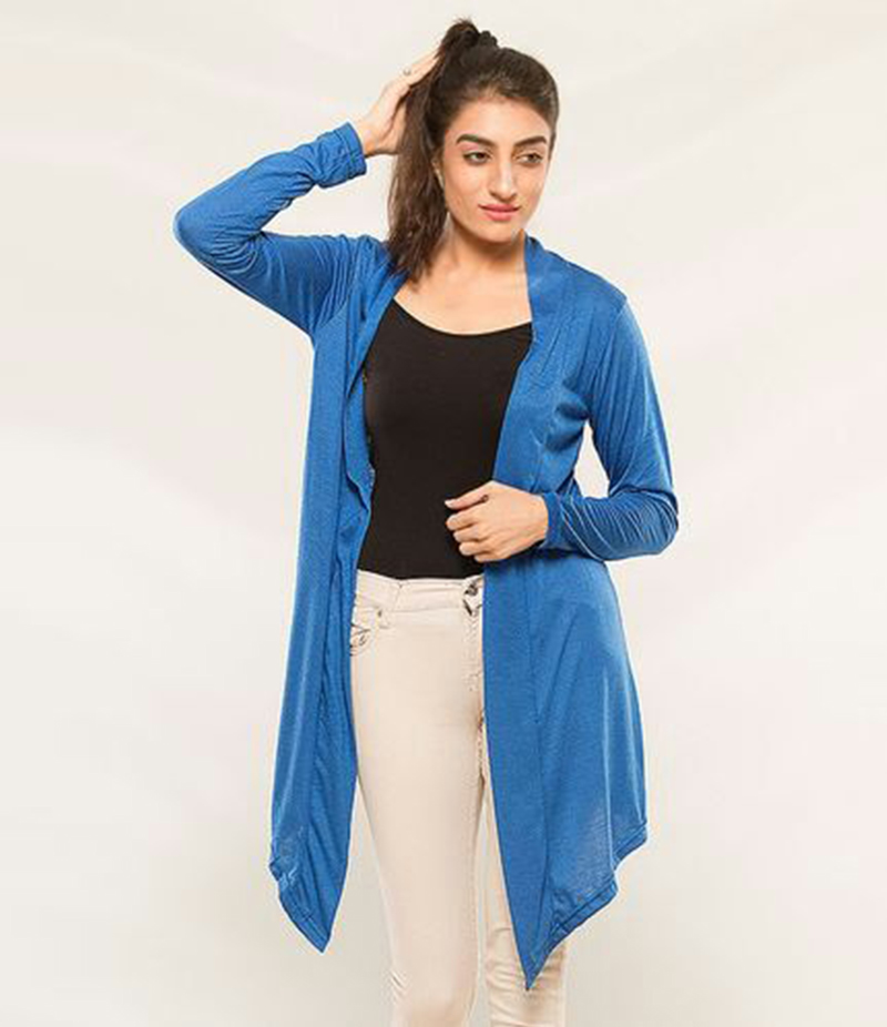 Women's Blue Viscose Shrug. KTY-S237