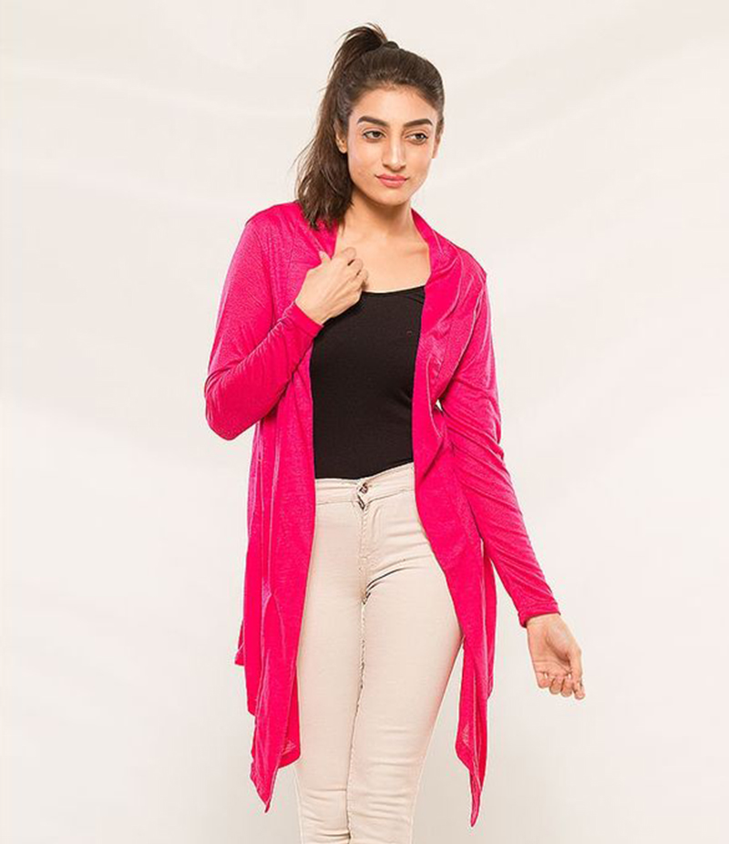 Women's Pink Viscose Shrug. KTY-S238