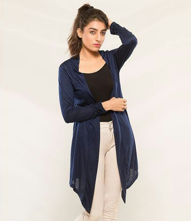 Women's Navy Blue Viscose Shrug. KTY-S239