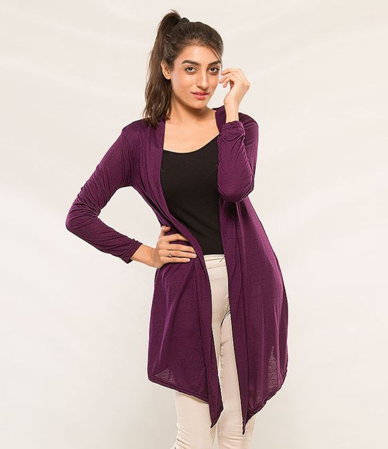 Women's Purple Viscose Shrug. KTY-S240