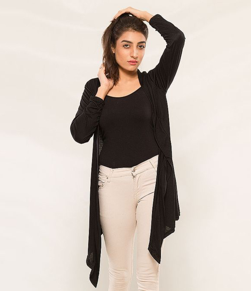 Women's Black Viscose Shrug. KTY-S241
