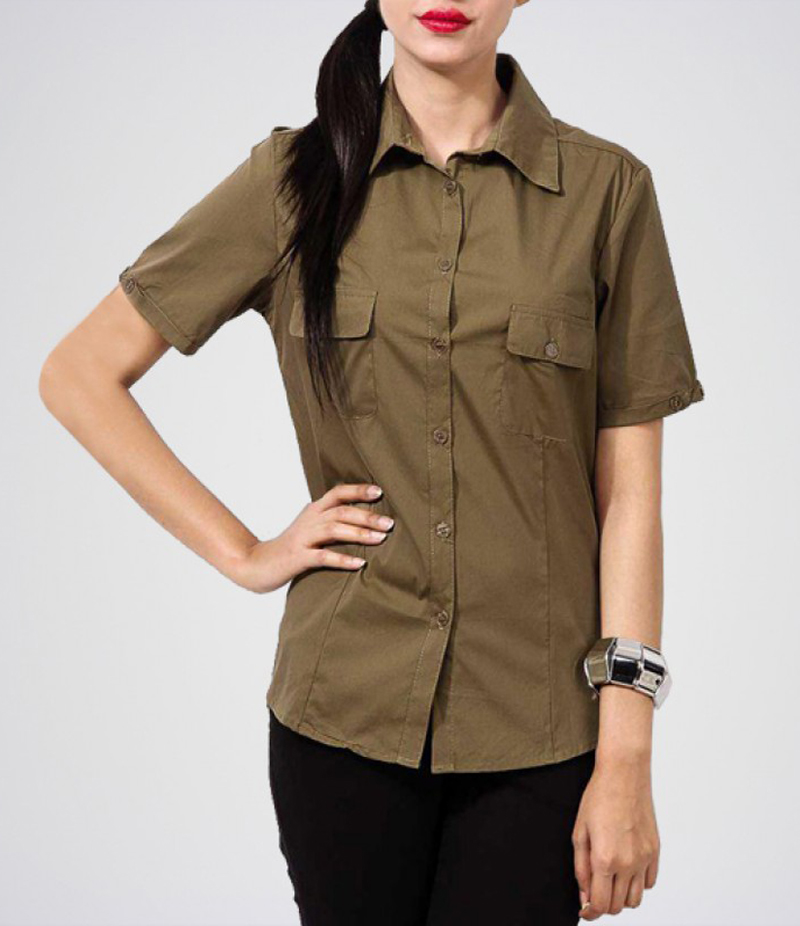 Katy n Cross - Women's Army Green Cotton Formal Camp Shirt With Dual Pockets. KTY-SHRT02