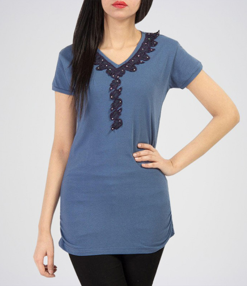 Women's Greyish Blue Cotton Tunic with Dark Blue Lace. KTY-TUN06