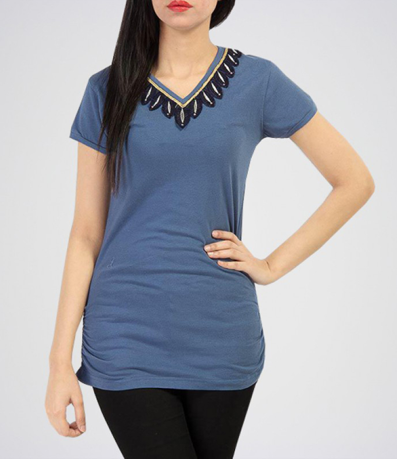 Women's Greyish Blue Cotton Tunic with V Neck Lace. KTY-TUN07