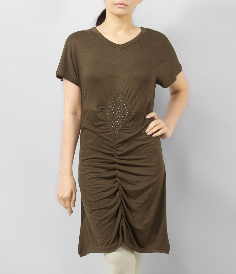 Women's Dark Brown Viscose Tunic With Studs On Front. KTY-TUN26