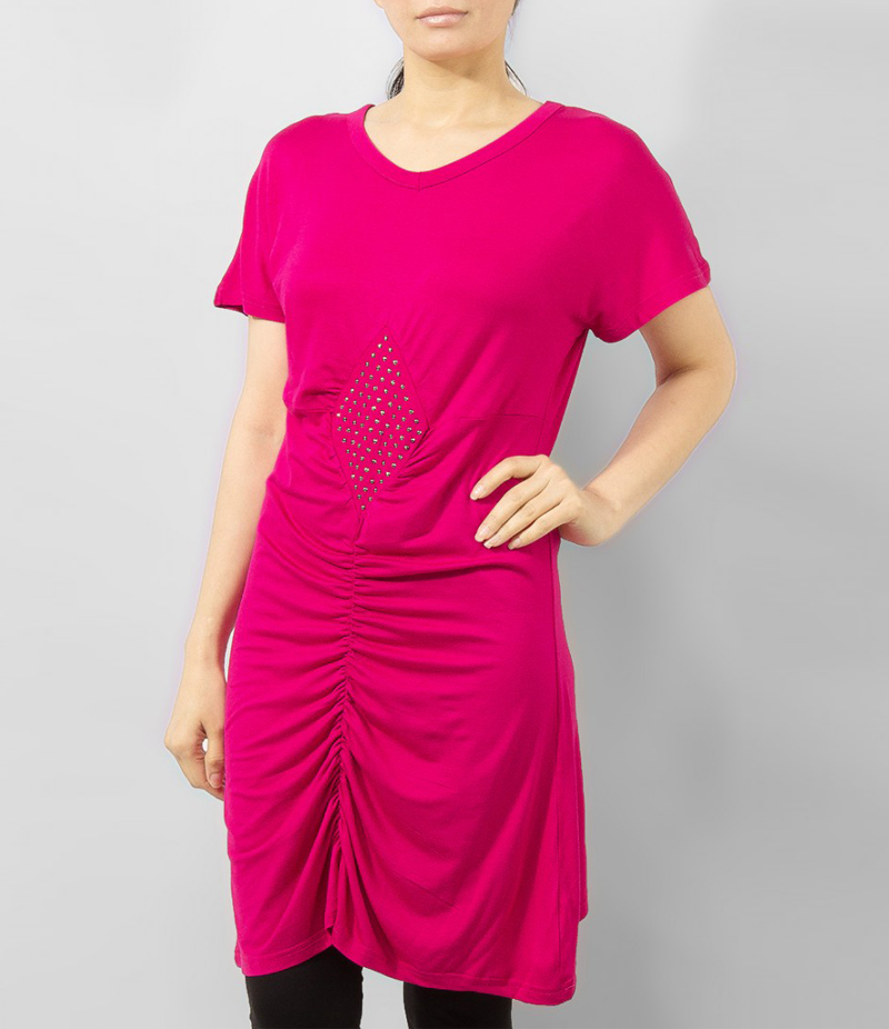 Women's Hot Pink Viscose Tunic With Studs On Front. KTY-TUN26HP