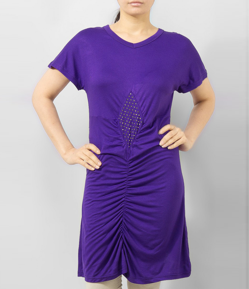 Women's Purple Viscose Tunic With Studs On Front. KTY-TUN26P