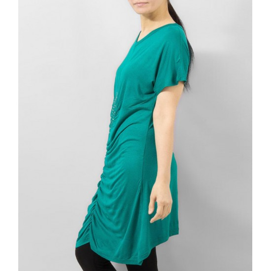 Women's Green Viscose Tunic With Studs On Front. KTY-TUN26G