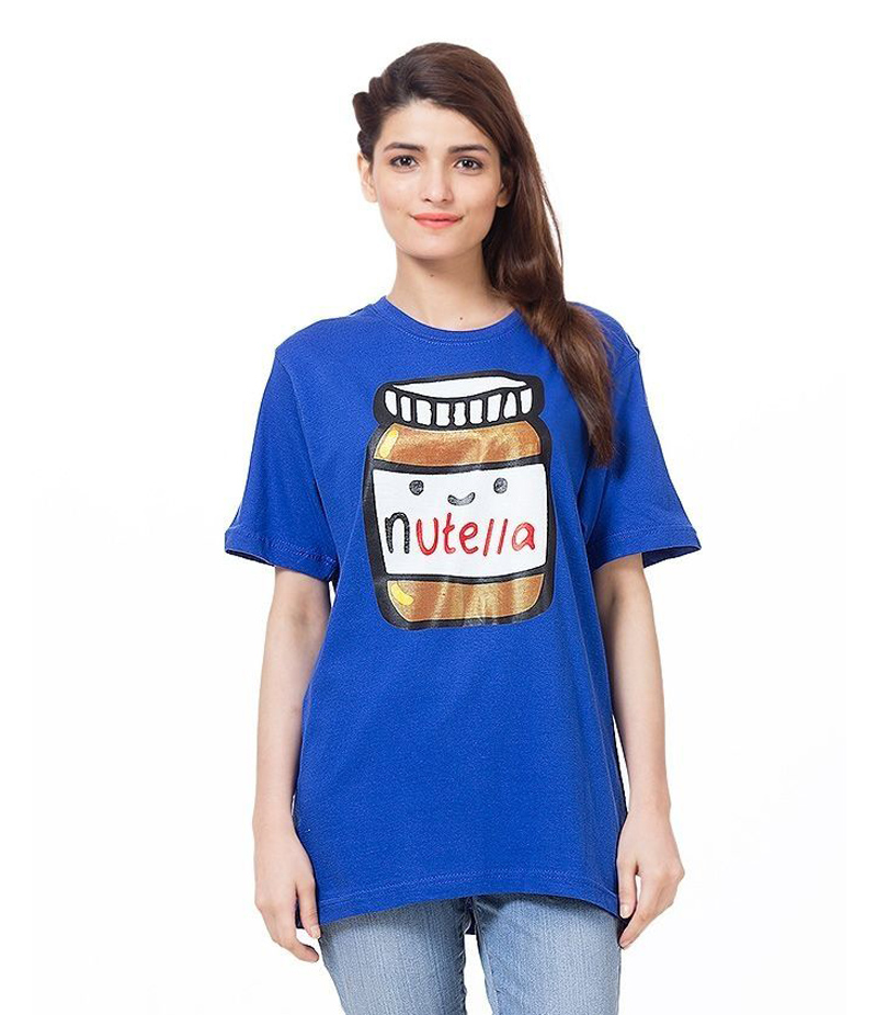 Women's Royal Blue Nutella Love Printed T-shirt. NTL-TH90