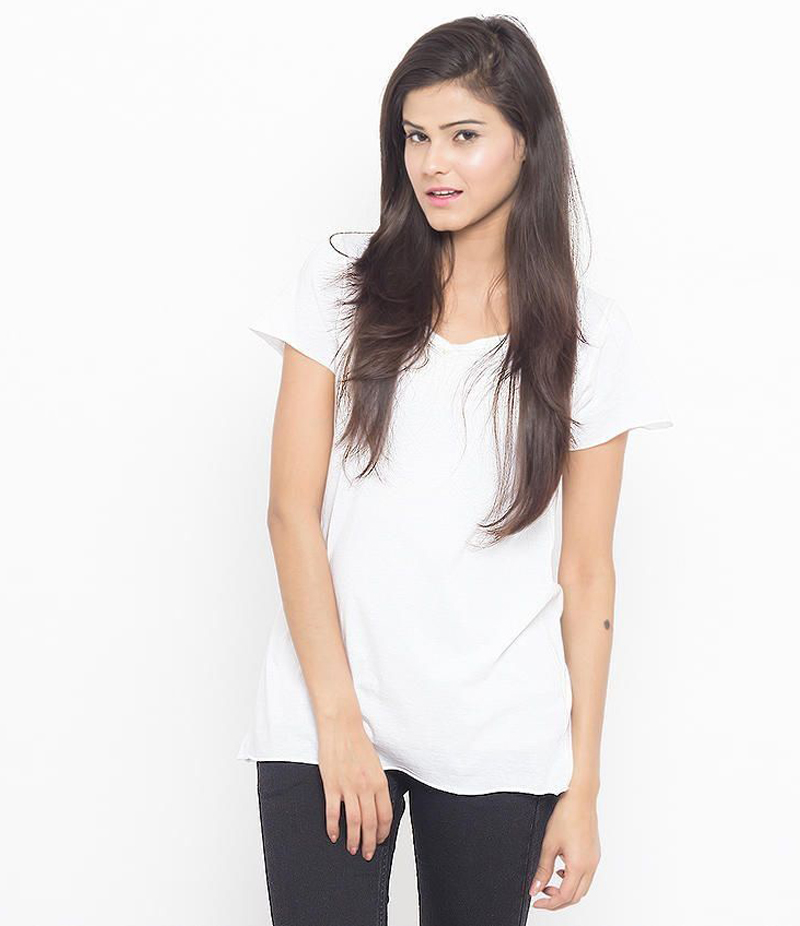 Women's White Cotton T-shirt. WHT-01