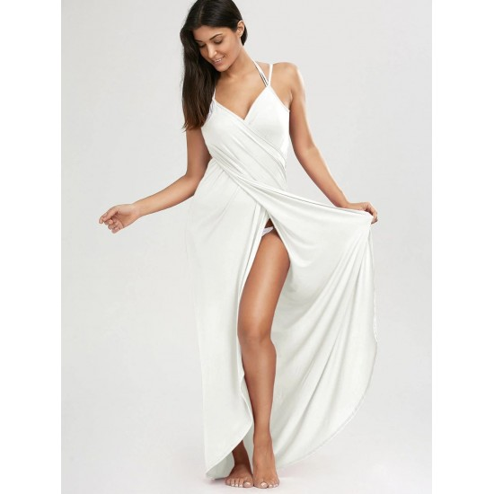 Women's White Long Cover Nighty. NT-0002-WH