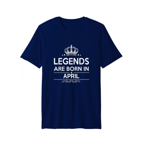Navy Blue Born In April Half Sleeve T-shirt. HLGND-04