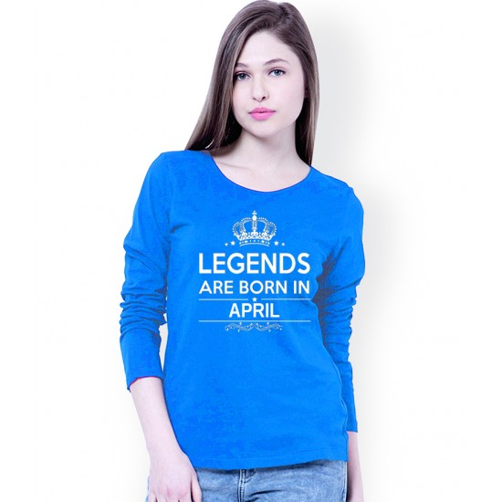 Women's Turquoise Blue Born In April Long Sleeve T-shirt. WLLGND-00004