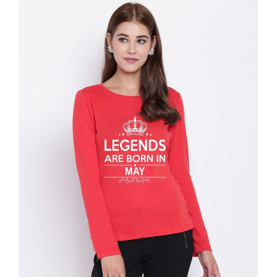 Women's Red Born In May Long Sleeve T-shirt. WLLGND-005