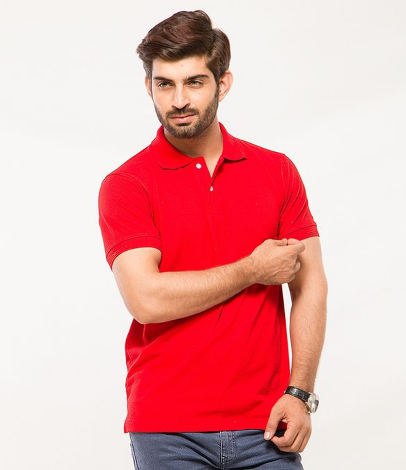 Men's Red Cotton Basic Polo T-shirt. MM-PT10