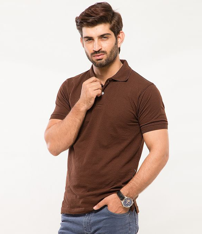 Men's Chocolate Brown Cotton Basic Polo T-shirt. MM-PT8