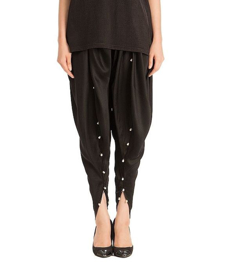 Women's Black Viscose Tulip Pants. MM-TP2