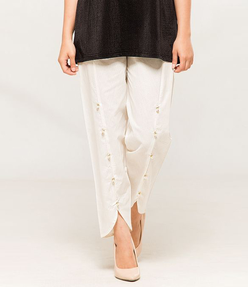 Women's White Viscose Tulip Pants. MM-TP3