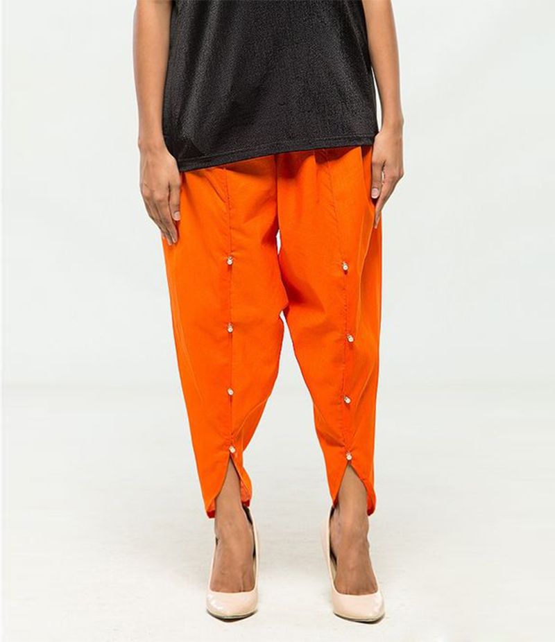Women's Orange Viscose Tulip Pants. MM-TP4