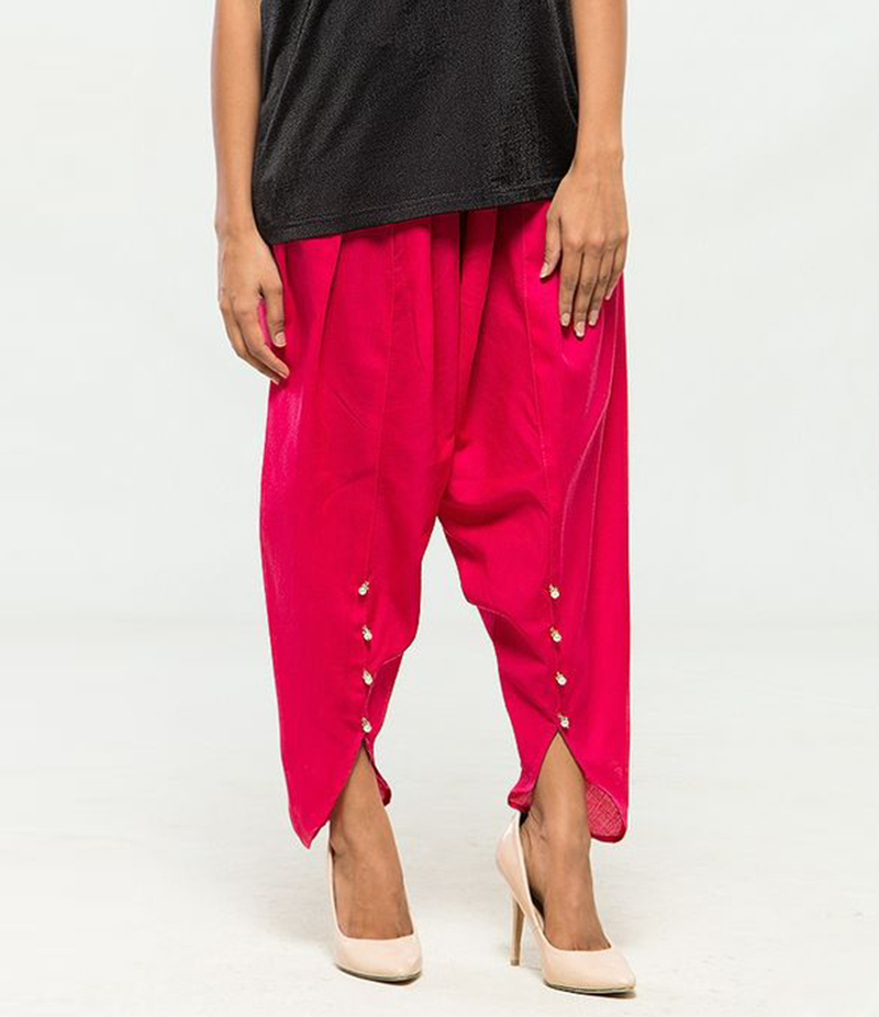 Women's Pink Viscose Tulip Pants. MM-TP5