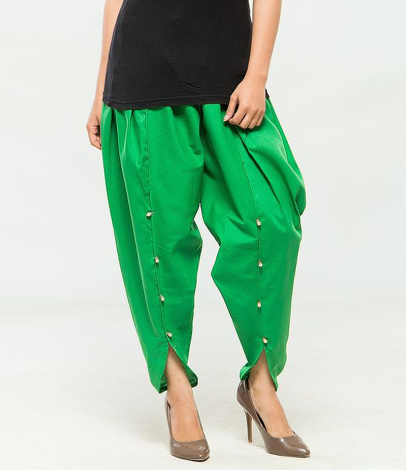 Women's Green Viscose Tulip Pants. MM-TP6