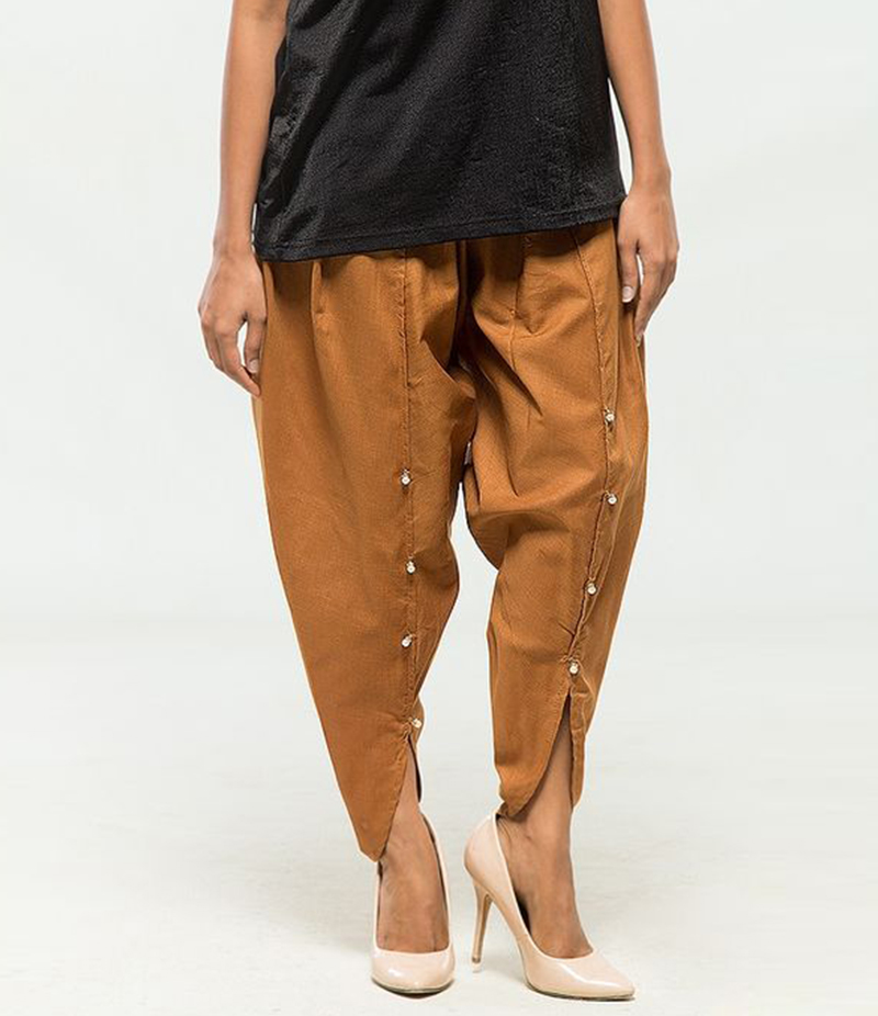 Women's Brown Viscose Tulip Pants. MM-TP7