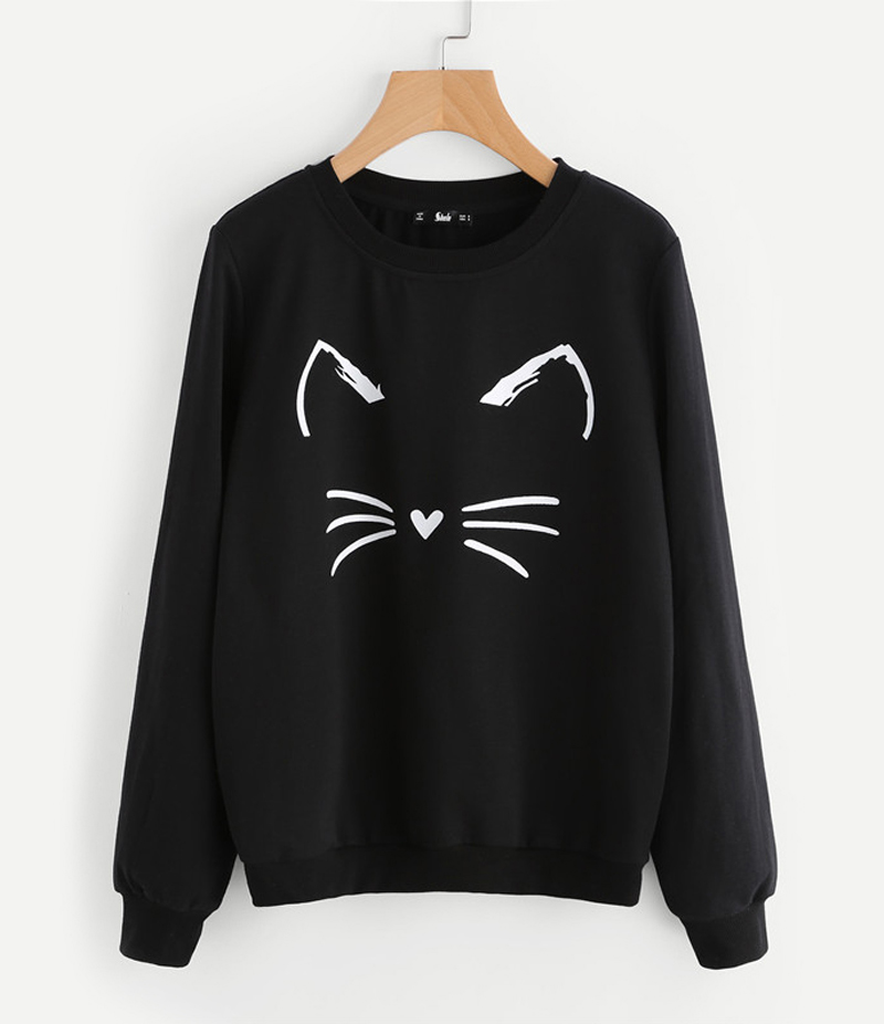 Women's Black Catty Printed Sweatshirt. ACT-SW1