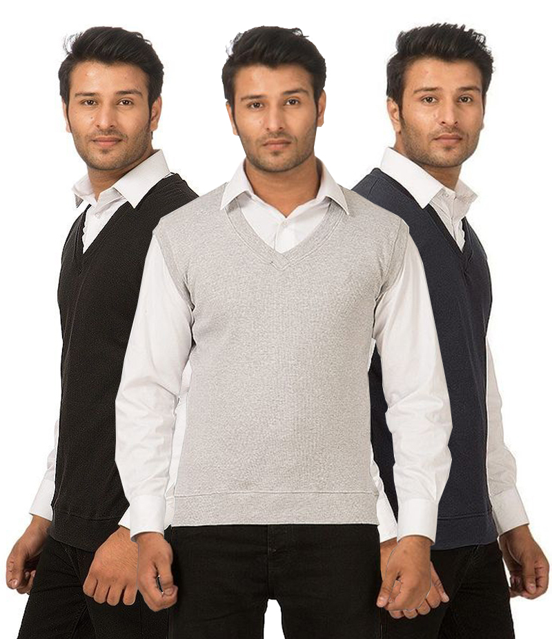 Men's Pack of 3 Winter Sleeveless Sweaters. AJ-AR51