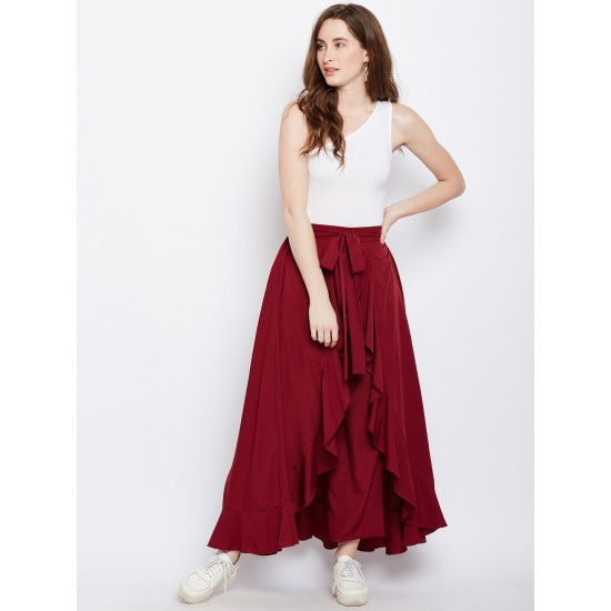 Women's Maroon Ruffled Flared Maxi Skirt with Attached Trousers. AA -12