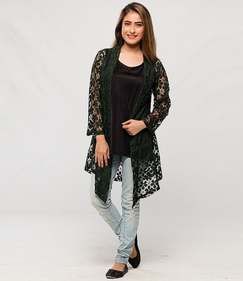 Women's Dark Green Cotton Net Shrug. NS-NS1