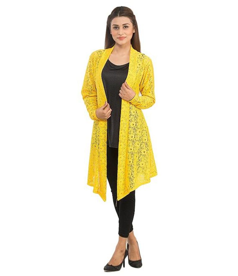 Women's Yellow Cotton Net Shrug. NS-NS10