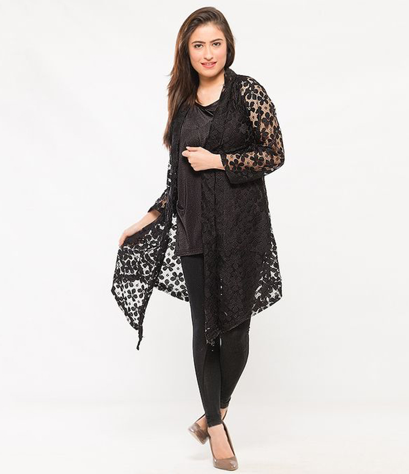 Women's Black Cotton Net Shrug. NS-NS2