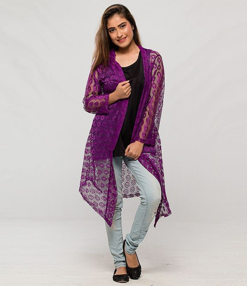Women's Purple Cotton Net Shrug. NS-NS3