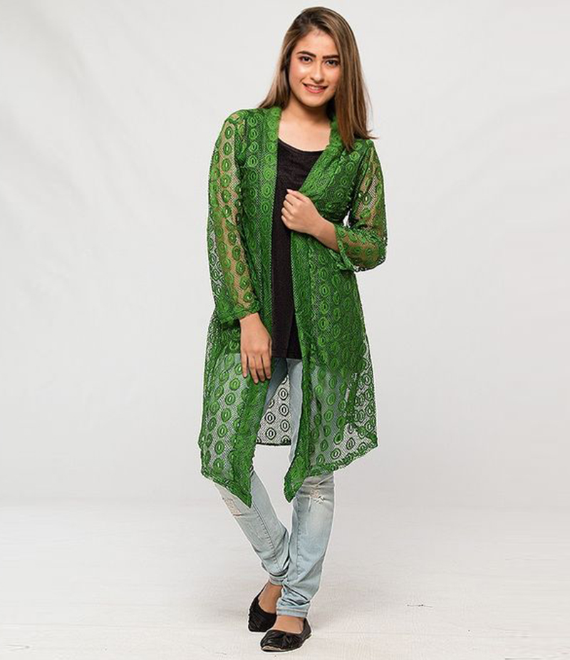Women's Green Cotton Net Shrug. NS-NS5