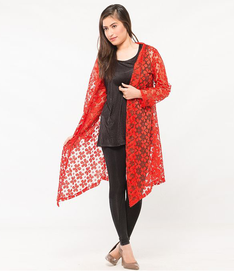 Women's Red Cotton Net Shrug. NS-NS6