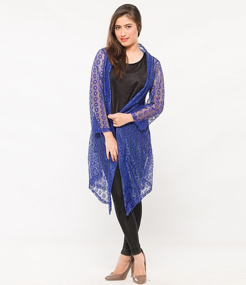 Women's Blue Cotton Net Shrug. NS-NS7