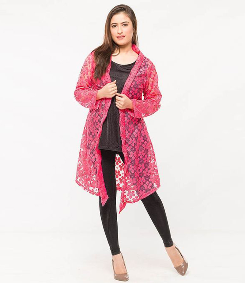 Women's Pink Cotton Net Shrug. NS-NS8