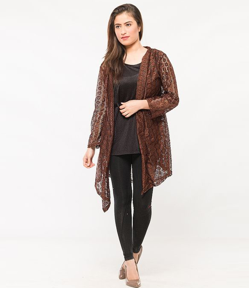 Women's Brown Cotton Net Shrug. NS-NS9