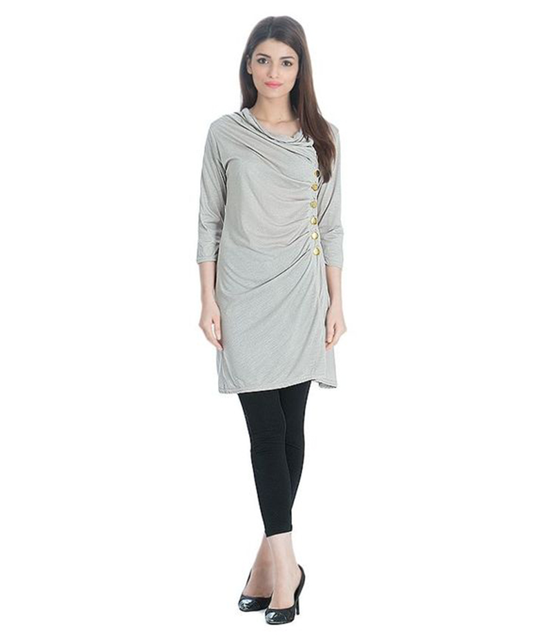 Women's Grey Viscouse Side Buttoned Tunic. NS-SBT1