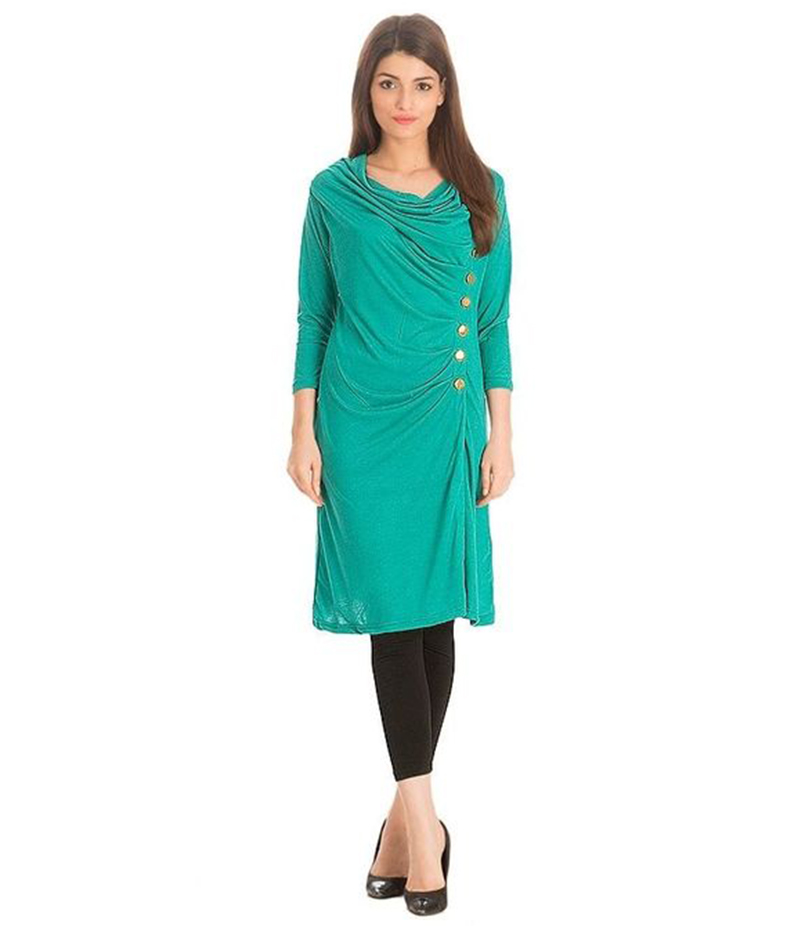 Women's Green Viscouse Side Buttoned Tunic. NS-SBT2