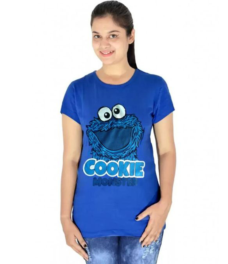 Women's Royal Blue Cookie Monster Printed T-shirt. CKM-RT