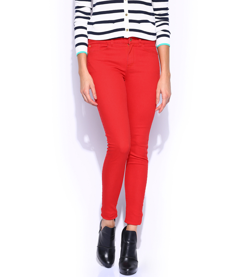 Women's Crimson Red Denim Jeans. SA-J3