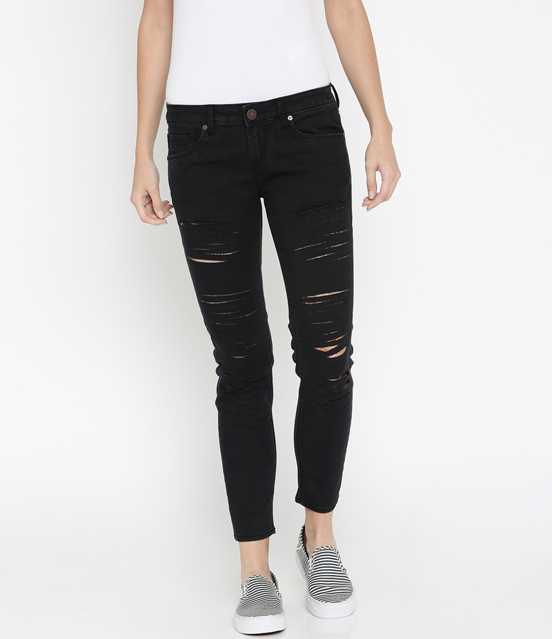 Women's Jet Black Ripped Denim Jeans. SA-J37